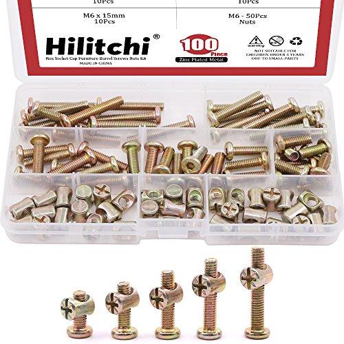 Hilitchi 100-Pcs M6 x 15/20 / 25/30 / 35mm Zinc Plated Hex Drive Socket Cap Furniture Barrel Screws Bolt Nuts Assortment Kit for Furniture Cots Beds Crib and Chairs