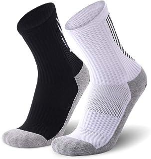 JEPOZRA, Calcetines deportivos antideslizantes, 2 pares de calcetines de fútbol para hombre,transpirable desodorante Calcetines para fútbol baloncesto running ciclismo trekking yoga Runing Negros/Blanco