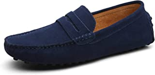 Jade clear Fashion Summer Style Soft Moccasins Men Loafers Genuine Leather Shoes Men Flats Gommino Driving Shoes,01 Dark Blue,13