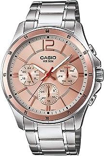 Casio Men's Light Pink Dial Stainless Steel Band Watch - MTP-1374D-9AVDF, Analog, Quartz