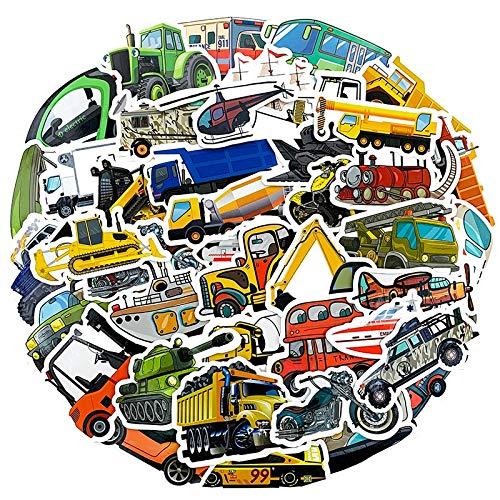 PMSMT 50 Uds, Avión, Coche, Tanque, Tractor, ingeniería, vehículo, decoración, Pegatinas de vehículo para Nevera, Cuenta, Pegatina de Juguete para niños