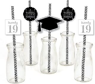 Silver Tassel Worth The Hassle Paper Straw Decor - 2019 Graduation Party Striped Decorative Straws - Set of 24