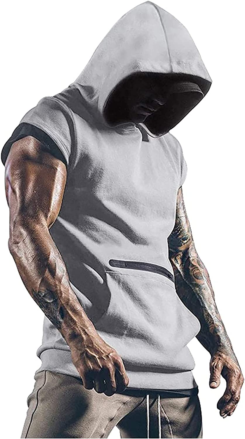 Mens Workout Tank Tops with Hood Sleeveless Cut Off Gym T-Shirt Muscles Vest Tees with Athletic Pockets