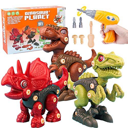 ISKM Juego de montaje de dinosaurio para montar juguetes desmontables con taladro eléctrico y destornillador, 3 figuras de dinosaurios, juego de construcción para aprender a niños, niñas y niños