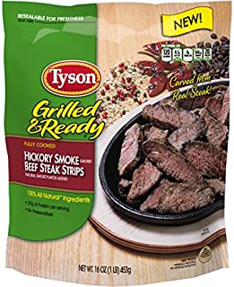 Tyson Grilled & Ready Fully Cooked Hickory Smoke Flavored Beef Steak Strips, 16 oz. (Frozen)