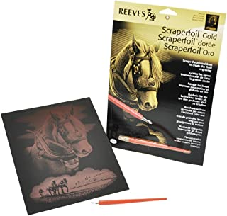 Reeves Gold Scraperfoil Kit, 8-Inch by 10-Inch, Horse Portrait