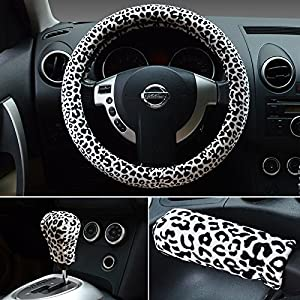 HONCENMAX Pack Plush Vehicle Steering Wheel Cover Quality Comfy Winter Soft Car Steering Wheel Protector Universal Diameter 38cm 15 quot   Leopard Print