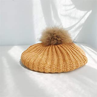 HongJie Hou Korean Wild Pit Strip Wool Beret Autumn and Winter Real Fur Ball Knitted hat Winter hat Korean Female Casual Wave (Color : Orange, Size : One Size)