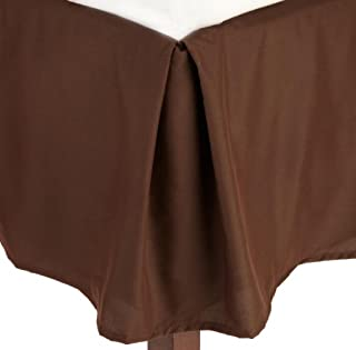 Cosy House Collection Full Size Pleated Bed Skirt - Luxury Hotel Microfiber Dust Ruffle - 14 Inch Tailored Drop - Stain & Fade Resistant - Chocolate