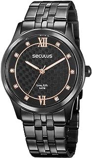 Relógio, Analógico, Seculus, 35025LPSVPA3, Feminino, Preto