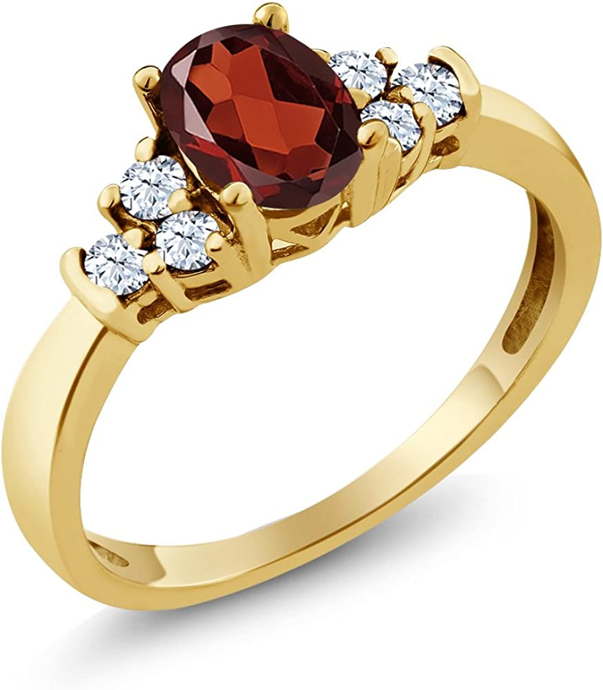 Gem Stone King Red Garnet and New mail order Topaz White Yellow 925 Gold Cheap sale Plated