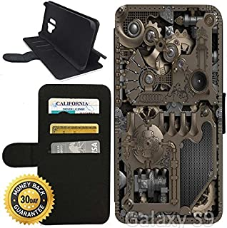 Flip Wallet Case for Galaxy S9 (Steampunk Mechanical Gears) with Adjustable Stand and 3 Card Holders | Shock Protection | Lightweight | Includes Stylus Pen by Innosub