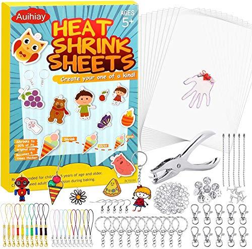 Auihiay 221 Stück Clear Shrink Plastic Kit Enthält 20 Schrumpfkunstpapier, Locher und Schlüsselanhänger Zubehör für Kinder Creative Craft