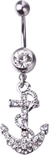 Anchor Belly Button Ring with Crystal Clear 14G