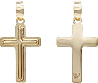 14k Yellow Gold Sold Traditional Cross Pendant