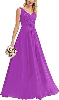 ANGELWARDROBE A-Line V-Neck Bridesmaid Dresses Long Chiffon Wedding Princess Maxi Skirt Party Prom Gown