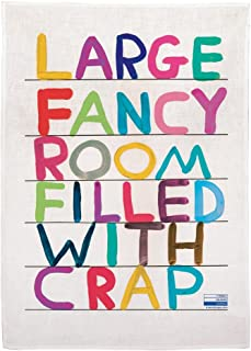 Third Drawer Down Large Fancy Room Linen Tea Towel Exclusively Designed by David Shrigley- Multicolor