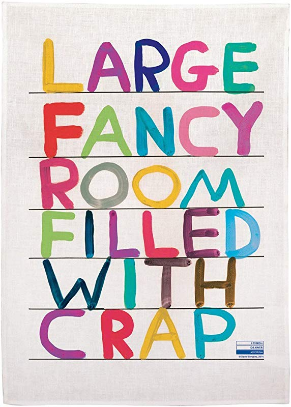 Third Drawer Down Large Fancy Room Linen Tea Towel Exclusively Designed By David Shrigley Multicolor