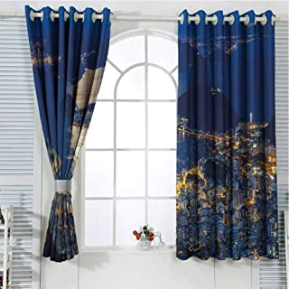 Jinguizi Grommet Window Curtain Blackout Curtains for Bedroom Night,Aerial View of Mountain Sugar Loaf and Botafogo Rio de Janeiro,Violet Blue Marigold Light Grey Light Curtain 55 x 40 inch