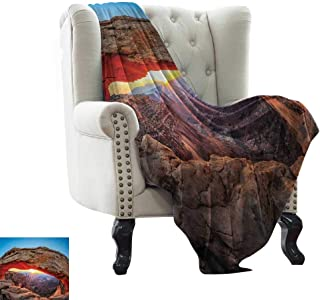 Bed Blanket USA,Famous Sunrise at Mesa Arch in Canyonlands National Park,Utah,USA,Sky Blue Amber Light Brown Soft Fabric for Couch Sofa Easy Care 60