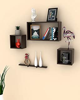 Onlineshoppee Rafuf Floating Wall Shelf with 4 Shelves (Brown)