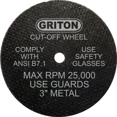 Griton CA3032 Rueda de corte industrial para metal, diámetro del agujero de 1/4 pulgadas, diámetro de 3 pulgadas, 0,040 pulgadas de ancho (paquete de 50)