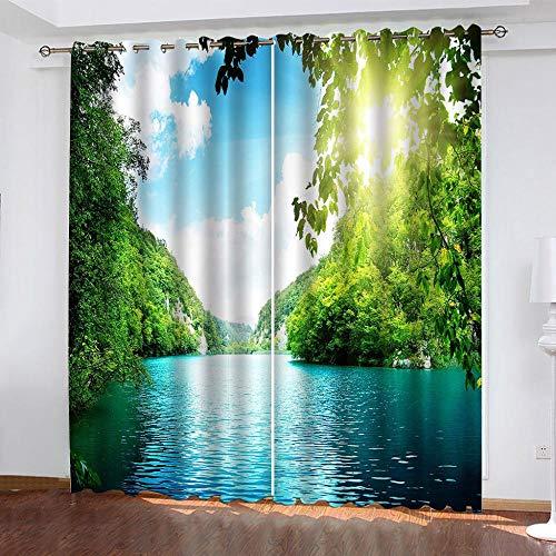 DRFQSK Cortinas Opacas Térmicas Aislantes para Salon Cortinas con Ojales para Dormitorio Impresión 3D Lago del Bosque Soleado Cortinas para Ventanas 2 Piezas 140 X 160 Cm(An X Al)