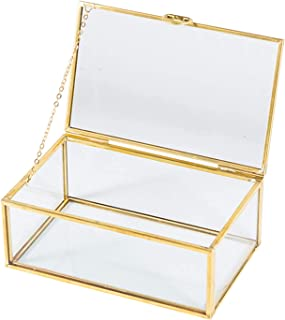 SMART WYCHE Glass Box Keepsake Box with Hinged Lid for Women and Girls, Suitable for Storage Jewelry Trinkets Flowers and ...