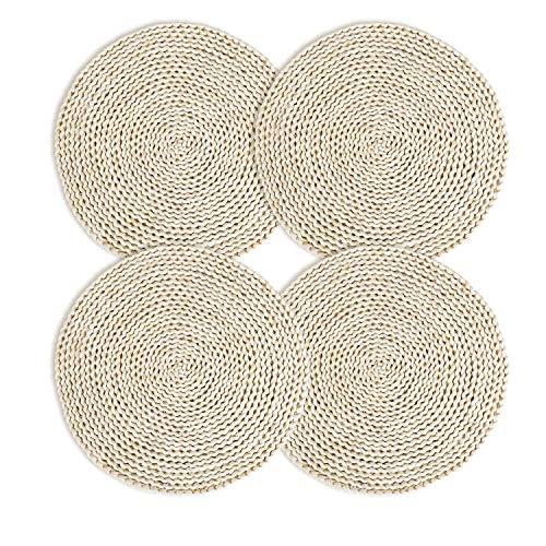 Rund Gewebt Tischsets Natur Mais Stroh Platzdeckchen 12'' Platzset Rutschfeste Handgefertigte Rustikale Hitzebeständige Untersetzer für zu Hause den Esstisch (4 Stück)