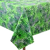 Touman 2 Pieces 54 x 108 Inch Hawaii Palm Leaves Tablecloth Plastic Tropical Tablecloth Disposable Rectangular Table Covers for Birthday, Luau Party, Kitchen Dining Room, Baby Shower Decorations