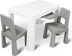 Home Canvas Multi Functional Early Learning Study Table & Chair Set, Table and Chair for Kids of 3 Years and Above White and Grey