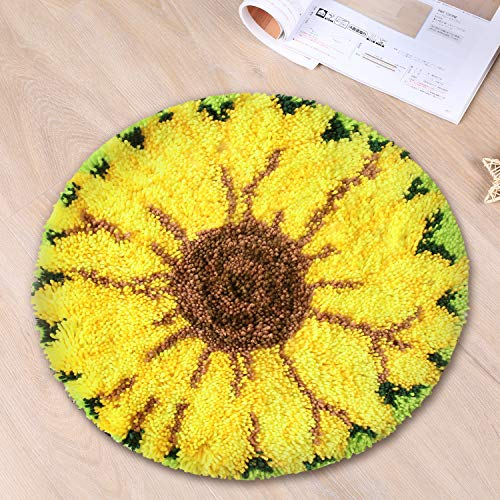 Latch Hook Kit Handcraft Cushion DIY Rug Carpet Embroidery Set Crocheting for Kids & Adults with Pattern Printed (Sunflower, 20x20 inch)