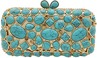FengheYQ Women's Fashion Europe and America Diamond Irregular Turquoise Evening Dress Banquet Bag Wedding Chain Shoulder Clutch Bag Size: 17 * 5 * 9cm (Color : Light Blue)