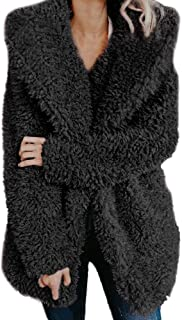 Aniywn Women Artificial Wool Coat Jacket Hooded Cardigans Ladies Winter Warm Sweater Coat Outerwear
