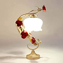 Pastoral Floral Table Lamp Lighting Iron Art Romantic Red Rose Desk Light Tiffany Style Glass Reading Lights for Living Ro...