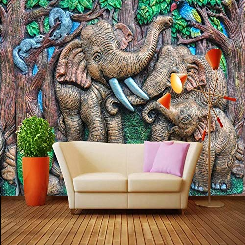Fototapete Wandbild Hintergrund 3d TapetenBenutzerdefinierte Tapete 3d Foto Wandbild Stereo Relief Holzschnitzerei Waldelefant Kinderzimmer Wandbild Hintergrund Tapete-Über 400 * 280 cm