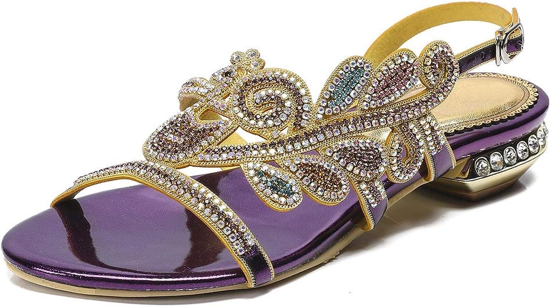 Summer Sandals for Women Sparkly Glitter Phoenix Mid High Block Heel Peep Toe Slipper