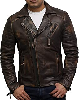 Mens Leather Jacket Biker Brando Genuine Lamb Skin Slim fit