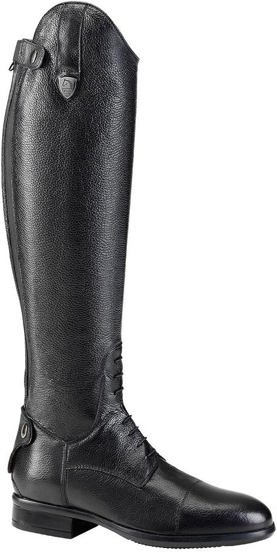 Tattini Breton geschnürt, genarbte Leder Lang Riding Tall Stiefel, XS Kalb Gre