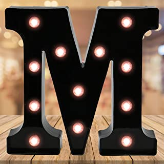 Oycbuzo Light up Letters LED Letter Black Alphabet Letter Night Lights for Home Bar Festival Birthday Party Wedding Decorative (Black Letter M)