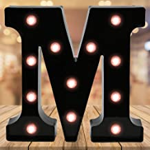 Oycbuzo Light up Letters LED Letter Black Alphabet Letter Night Lights for Home Bar Festival Birthday Party Wedding Decorative (Black Letter M)