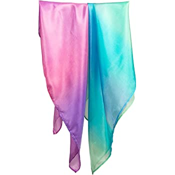 Sarah's Silks - Mini Playsilk Sets, 100% Real Silk, 21-Inch Squared Scarves, Tiny Silks for Tiny Hands - Sea and Blossom