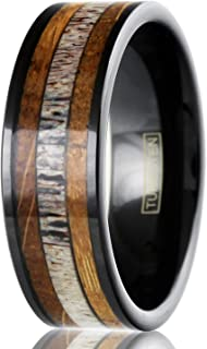 King's Cross Beautiful & Unique 6mm/8mm Piano Black Tungsten Carbide Flat Band Ring with Deer Antler Between Whiskey Barrel Oak Wood Inlays.