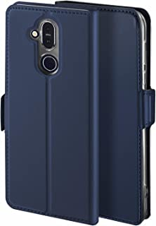 Viankors Case for Nokia 8.1 Mobile Phone case, [Stand Function] [Card Slot] [Magnet] [Anti-Slip] Premium Leather Flip Case Cover for Nokia 8.1Mobile Phone case (Blue)