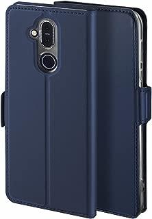 Viankors Case for Nokia 8.1 Mobile Phone case, [Stand Function] [Card Slot] [Magnet] [Anti-Slip] Premium Leather Flip Case Cover for Nokia 8.1Mobile Phone case (Blue)