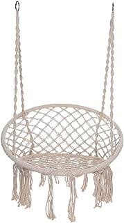One76 Hammock Chair Macrame Swing, Hanging Cotton Rope Macrame Hammock Swing Chair for Bedroom Indoor/Outdoor Home Patio Deck Yard Garden Reading Leisure (White)