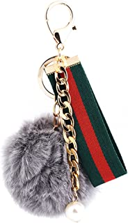 ygmoner Faux Fox Fur Pom Pom Keychain Car Bag Purse Charm Gold Ring Fluffy Fur Ball (Gray)