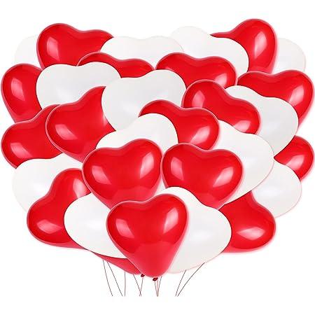 HOWAF Palloncini Decorazioni per Festa, 100 Pezzi Cuore Palloncini Rossi e Bianchi Palloncini in Lattice per Compleanno, Feste, Matrimoni e Cerimonia Celebrazione