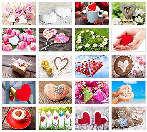 Set 20 Postkarten mit Herz Motiven - Postkarten zur Hochzeit - Geschenkidee - Hochzeitsspiel - Postkarten Liebe - Valentinstag - Geburtstag - Danke