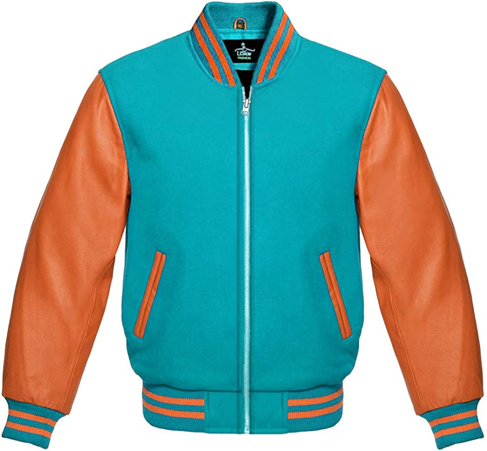 Varsity Baseball Letterman Bomber School Sky a Collage Large discharge sale Blue Wool Max 52% OFF
